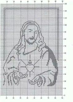 Punto de cruz: Sagrado Corazón de Jesús. Alto 92 Filet Crochet, Crochet Cross, Crochet Cat Pattern, Crochet Chart, Crochet Stitches, Crochet Patterns, Cross Stitch Designs, Cross Stitch Patterns, Cross Stitch Silhouette