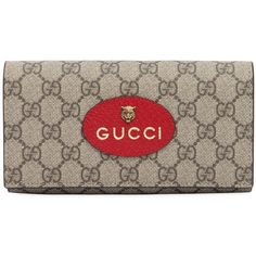 83ccfe062517 Gucci Women Large Neo Vintage Gg Supreme Wallet ($570) ❤ liked on Polyvore  featuring bags, wallets, taupe, gucci wallet, snap wallet, brown wallet, ...