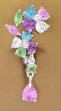 Multi Color Flower Dangle Belly Navel Reverse Top mount Ring body jewelry piercing bar gold plate $11.00