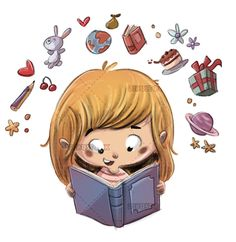 Girl reading a book imagination in 2020 School illustration Girl reading Studying girl