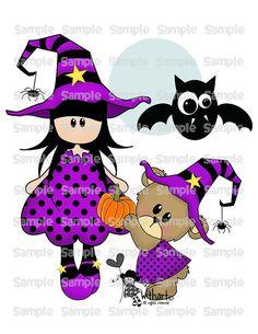 Witch moon and teddy bear Nina dolls 0292 clip art set por Withart