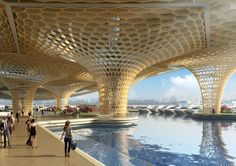 Yeouido Han River Park & Yeoui-Naru Floating Ferry Terminal by Vincent Callebaut Architectures in Seoul, South Korea Green Architecture, Futuristic Architecture, Amazing Architecture, Chinese Architecture, Architecture Photo, Contemporary Architecture, Landscape Architecture, Han River, River Park