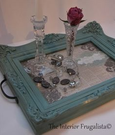 Re-purposed picture frame into a beautiful serving tray. I think I found my next…