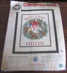 DIMENSIONS Cross Stitch Kit Holiday Welcome Wreath Designed by Martha Edwards #Dimensions