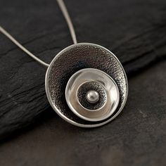 "Modern Circle Necklace- Sterling Silver Necklace -Silver Circle Disc Pendant- Artisan Silver Jewelry- ""Spherical Disc Pendant"""