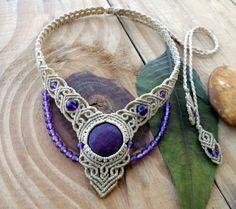 Ruby macrame necklace, macrame stone, macrame jewelry, micro macrame, ruby cabochon, healing jewelry, micromacrame