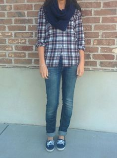 Casual outfit, plaid flannel shirt, knit infinity scarf, vans