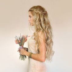 Beautiful Prom Bridesmaid Wedding Inspired Nude Light Pink Beige Maxi Dress Gown Perfect Beach Waves Braided Hair