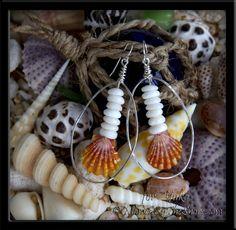 Hawaiian Sunrise Shell & Puka Shells Hammered Hoop Earrings