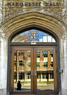 Entrance to Marquette Hall at Marquette University.