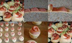 Um lanche em forma de flor. Assim que se faz. Prepare a massa dos pães, depois recheie, corte e enrole como na figura.