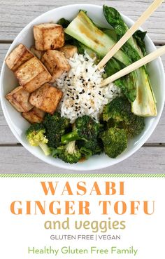 An easy weekday dinner big on flavor. Stir Fried Broccoli and Bok Choy, roasted tofu and a Wasabi Ginger Sauce. Recipe adapted from Vegetarian Times, there is room to play with how much wasabi and ginger you want. Option: stir fry some chicken for the meat lovers in your family. #glutenfree