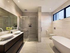 of a bathroom design from a real Australian house Bathroom photo 8766989 Taupe Bathroom, Bathroom Faucets, Bathroom Interior, Modern Bathroom, Small Bathroom, Bathroom Closet, Australia House, Bathroom Photos, Bathroom Ideas
