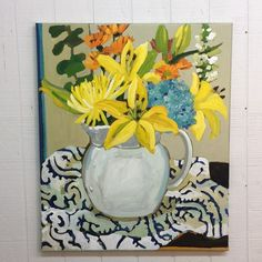 I loved painting this still life with this white pitcher. Plant Painting, Oil Painting Flowers, Abstract Flowers, Love Painting, Drawing Flowers, Flower Paintings, Pattern Art, Art Patterns, Flower Art