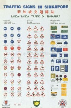 Traffic signs in Singapore (Text in English, Chinese and Malay). Driving Theory, Invoice Format, Paper Models, Singapore, Chinese, English, Signs, Unique, Templates