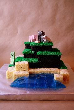 Minecraft Cake.  Would be PERFECT for Zack's birthday!  To bad it's already 3 months past it...guess I'll just have to whip one up as a half birthday surprise lol