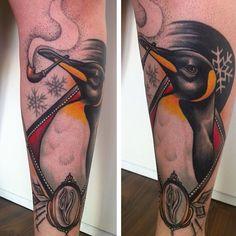 Artist: Lorena Morato | Penguin Tattoo: Such a dapper penguin!