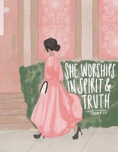 John 4:24 - Christian inspirational art / modest fashion illustration, woman headed to church, Christian Scripture Bible Verse study quote