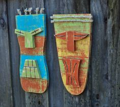 Tiki Mask Tiki Man Primitive Wall Hanging Wood by TheSavvyShopper1