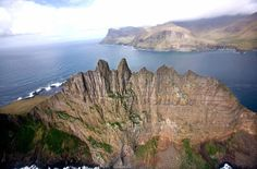 An aerial view of Tindhólmur, off of Vagar Island in the Faroe Islands, on May 25, 2007.