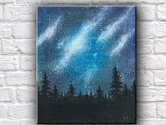 Night Sky Oil Painting Spruce Galaxy Stars Starry Night Silhouette Abstract Wall…