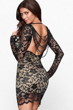 Sexy womens mini dress club wear party evening Beaded Lace Beige and Black  Ropa Sexy fcb8b8d9f801