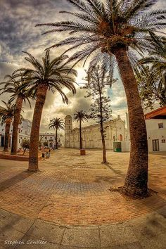 Fish eye view towards Iglesia Santa Catalina, Conil de la Frontera, Spain