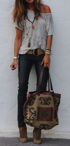 #summer #outfits Grey One Shoulder Tee + Skinny Jeans + Embroidered Tote Bag
