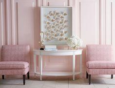 Ethan Allen Baldwin slipper chairs flank a demi-lune Foyer console table