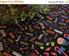 ON SALE Halloween Table Runner BOO Glitter 72 Inch by MakeMeOver