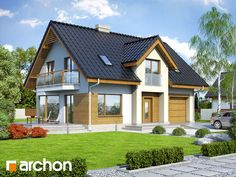 Projekt domu w aksamitkach 2 (N) ver. 2 - Dom o prostej bryle i nowatorskich stylistycznie rozwiązaniach elewacyjnych.
