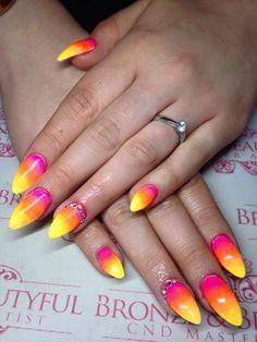 Gorgeous #lecente #neons by  Lauren Lea Fowler - stunning #nails!! #lovelecente #nailart