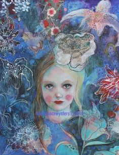 Items similar to Botany In Blue ACEO Open edition reproduction by Maria Pace-Wynters on Etsy Illustrations, Illustration Art, Montage Art, Spirited Art, Portrait Art, Girl Portraits, Assemblage Art, Naive Art, Artist Trading Cards