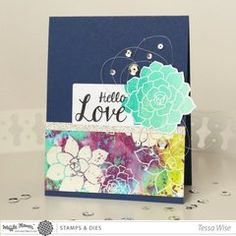 Beautiful ombre stamping and watercoloring featuring Waffle Flower succulents stamps and dies!