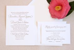 Classic Letterpress Wedding Invitation Suite by DinglewoodDesign