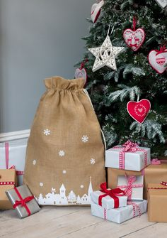 Christmas Hessian Sack with snowflake or winter scene design - Aspen and Brown