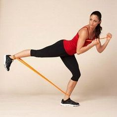 Work your butt and legs with a resistance band in the Power Kick by corinne