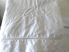 Large French linen sheet monogramed sheet CT by vintagefrenchdream