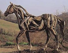 The driftwood horses amaze me because they are so realistic in their proportions and poses.