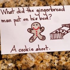 What did the gingerbread man put on his bed? A cookie sheet. #hohoho #lunchnotes #parenting #christmasjokes #kidsjokes #9daysuntilchristmas by barbaradanza