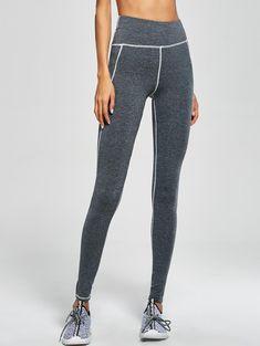 $15.98 High Waist Striped Yoga Leggings GRAY: Active Bottoms | ZAFUL
