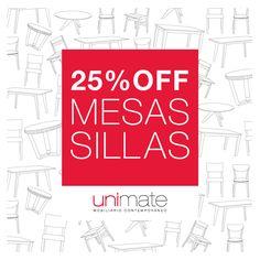 Agosto: #Mesas y #Sillas con 25% de descuento en Unimate. Mirá todos los modelos en www.unimate.com.ar #unimate