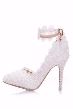 Crystal Queen White Lace Flower Wedding Shoes Slip On Pointed Toe Bridal Shoes High Heel Women Pumps Shallow Pointed Toe - Wedding Shoes Bridal Collection - Schuhe Davids Bridal Shoes, Best Bridal Shoes, Bridal Shoes Wedges, Bridal Sandals, Lace Wedges, White Lace Shoes, White Pumps, Gold Wedding Shoes, Wedding Pumps