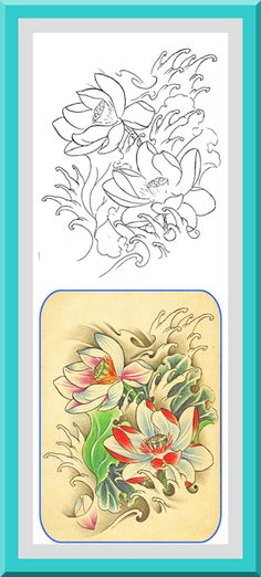 """Printable Flower Coloring Pages 30 High definition coloring pages, black outlines with colored examples. This flower coloring page is from """"Flowers Coloring Book"""" available for $2.89 at Etsy.  Printable coloring pages for adults and big kids."""