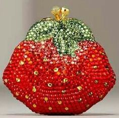 rhinestone strawberry coin purse
