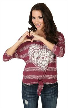 Deb Shops Striped Top with Crochet Heart Patch $19.90