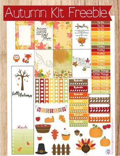 Autumn Kit Freebie trees, turkeys, fall leaves with checklists, banners, borders printable stickers for your planners To Do Planner, Free Planner, Planner Pages, Happy Planner, Planner Ideas, 2017 Planner, Washi, Banners, Freebies