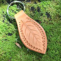 Leaf Leather Key Ring Key Fob Tooled Leaf Design Key Chain