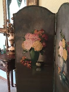 Your place to buy and sell all things handmade Rose Oil Painting, Oil Painting On Canvas, Shabby Chic Cottage, Shabby Chic Decor, Interior Design Vignette, Paris Apartment Decor, Victorian Vases, Dressing Screen, Decoration Shabby