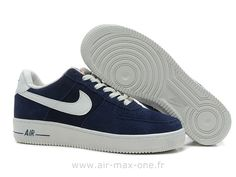 quality design 30c79 03430 Nike Air Force 1 Basse Suede Navy Blanc Chaussure pour Homme Nike Air Force  1 07